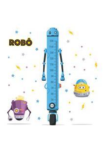 Adesivo De Parede Infantil Régua De Crescimento Robôs