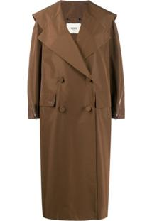 Fendi Trench Coat Oversized Com Abotoamento Duplo - Marrom