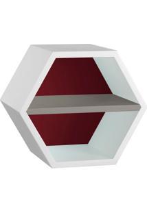 Nicho Hexagonal Favo Ii Com Prateleira Branco Com Bordo E Cinza