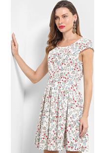 Vestido Pérola Evasê Floral - Feminino-Branco