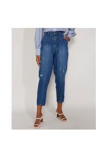 Calça Jeans Feminina Cintura Alta Sawary Baggy Com Recortes E Puídos Azul Médio
