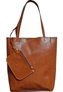 Bolsa Line Store Leather Sacola Shopper N1 Couro Whisky Rústico. - Kanui