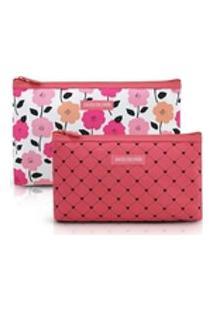 Kit Necessaire 2 Peças Pink Lover Floral Jacki Design Salmão