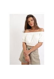 Blusa Feminina Cropped Ombro A Ombro Manga Bufante Branca