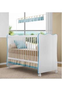 Berço C/ Rodízios Doce Sonho P/ Jogo De Quarto Infantil Bebê - Branco/Azul (Cod 102)