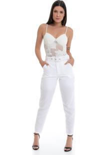 Calça Pkd De Tecido Com Cinto Off White - Tricae