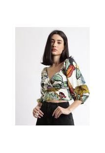 Blusa Feminina Cropped Estampada Tropical Com Transpasse Manga Bufante Decote V Off White