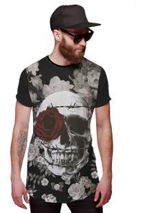 Camiseta Di Nuevo Longa Caveira Com Coroa De Espinhos E Rosa Vermelha Preta