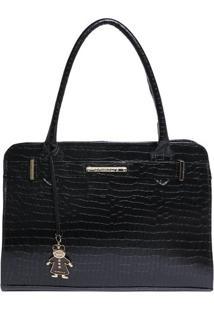 Bolsa Em Couro Croco Com Tira & Bag Charm- Preta- 25Di Marlys