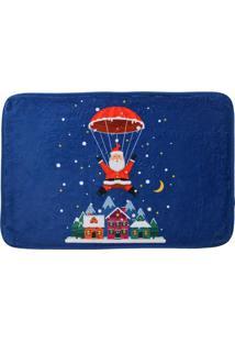 Tapete Para Banheiro Papai Noel- Azul & Vermelho- 40Mabruk