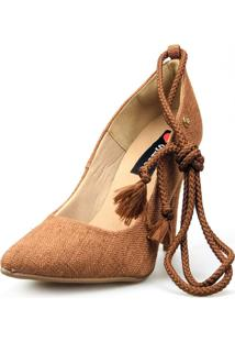 Scarpin Love Shoes Social Bico Fino Salto Alto Lace Up Amarraçáo Marrom - Tricae
