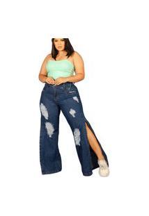 Calça Feminina Wide Leg Plus Size Jeans Com Fenda Tendência Azul
