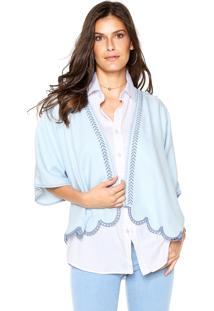 Kimono Maria Filó Bordado Azul