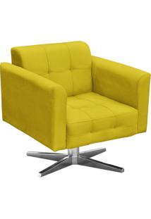 Poltrona Decorativa Elisa Suede Amarelo Com Base Giratã³Ria Em Aã§O Cromado - D'Rossi - Amarelo - Dafiti