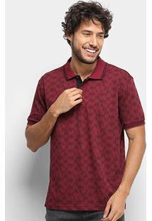 Camisa Polo Broken Rules Estampa Geométrica Masculina - Masculino-Vinho