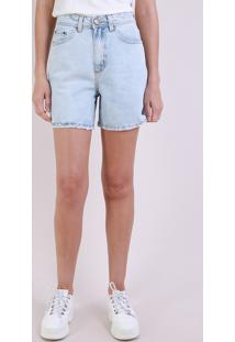 Bermuda Jeans Feminina Mom Cintura Alta Azul Claro