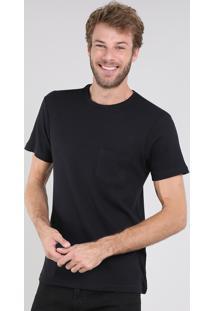 Camiseta Masculina Slim Fit Maquinetada Com Bolso Manga Curta Gola Careca Preta