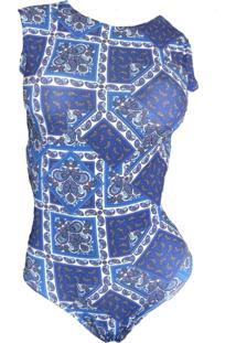 Maio Garota De Luxo Beachwear Com Tradicional Azul Zigzag