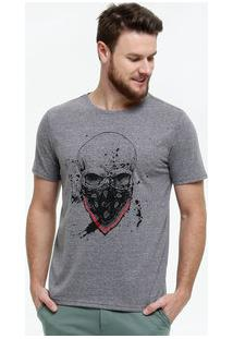 Camiseta Masculina Botonê Estampa Caveira Manga Curta