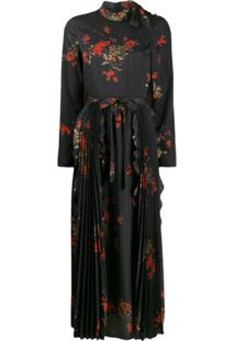Redvalentino Red(V) Floral Print Long Dress - Preto