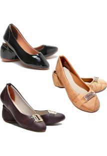Kit 3 Pares Sapatilhas Feminina Estilo Shoes Bege