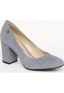 Sapato Tradicional Em Couro Com Tag - Azul- Salto: 7Capodarte