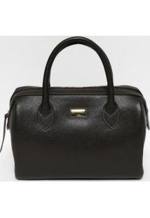 Bolsa Ba㺠Em Couro- Marrom Escuro & Dourada- 25X33X1Anette