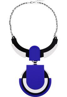 Colar Le Diamond Geométrico Acrílico Azul - Kanui