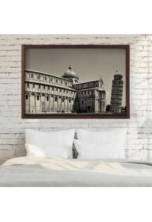Quadro Love Decor Com Moldura Torre De Pisa Madeira Escura Grande