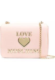 Love Moschino Bolsa Tiracolo Com Placa De Coração - Rosa