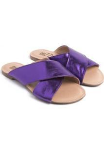 Sandália Rasteira Mizzi Shoes Trançada Feminina - Feminino-Roxo