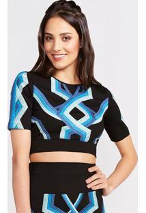 Blusa Cropped Com Bordados - Preta & Azul- Pop Uppop Up