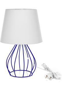 Abajur Cebola Dome Branco Com Aramado Azul - Branco - Dafiti