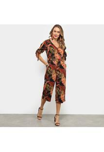 Macacão Lily Fashion Folhagem Feminino - Feminino-Preto