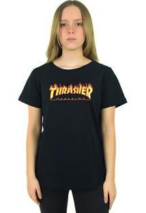 Camiseta Thrasher Magazine Feminina Flame Logo Preta - Multicolorido - Dafiti