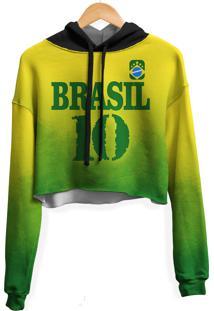 Blusa Cropped Moletom Feminina Over Fame Brasil Md04 - Kanui