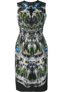 Alexander Mcqueen Vestido Com Estampa Holograma - Preto