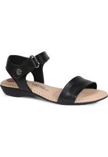 Sandália Rasteira Conforto Modare Velcro Preto