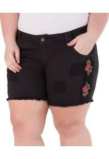 Shorts Confidencial Extra Plus Size Com Aplique De Malha Sintética Feminino - Feminino-Preto