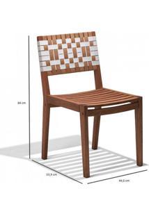 Cadeira Para Jardim Madeira Maciça Salinas Siena Móveis Polisten Nogueira/Percinta Branco/Bege