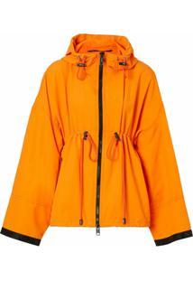 Burberry Jaqueta Com Logo E Capuz - Bright Orange