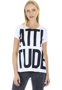 Camiseta T-Shirt Attitude Com Gola Redonda Aha - Branco - Feminino - Dafiti