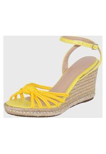 Sandália Anabela Vendrata Casual Elegancy Amarelo