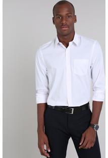 Camisa Masculina Comfort Listrada Com Bolso Manga Longa Rosa Claro