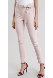 Calça Feminina Skinny Cintura Alta Com Faixa Rosê