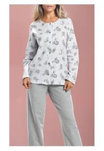 Pijama Longo Aberto Floral Paulienne (9775) Moletinho Felpado