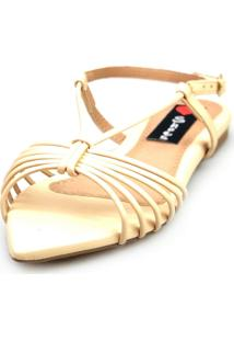 Sandalia Love Shoes Salomé Rasteira Bico Folha Tirinhas Bege