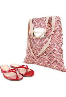 Rasteira Look Fashion Verniz Com Bolsa - Feminino-Vermelho