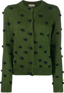 Tory Burch Cardigan Com Pompom - Verde