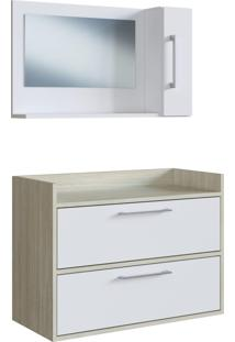 Conjunto De Balcão E Espelheira P/ Banheiro Biara Branco/Nogal Estilare Móveis